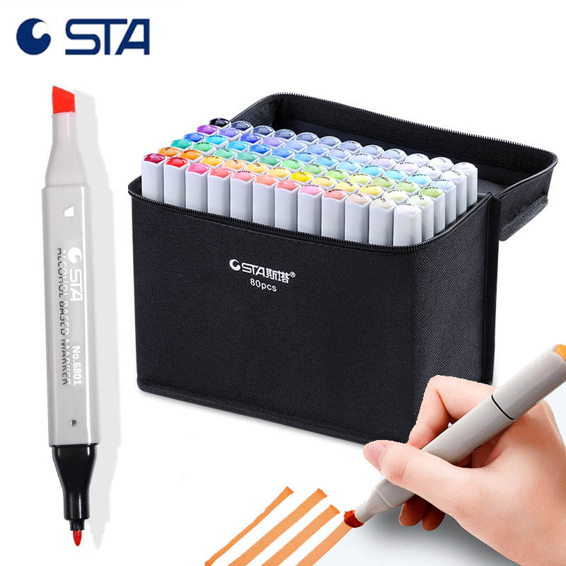 STA Artist Markers Dual Alcohol Grayscale Pens 30/40/60/80 drawing Anime/Illustration/Interior/Architecture Marker Skin Pen Set фотошкала colorchecker grayscale [m50103]
