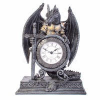 Medieval Gothic Dragon In Armour Broadsword Table Clock Shelf Mantle Clock Mythical Dragon Timer Ornament Standing Desk Clock