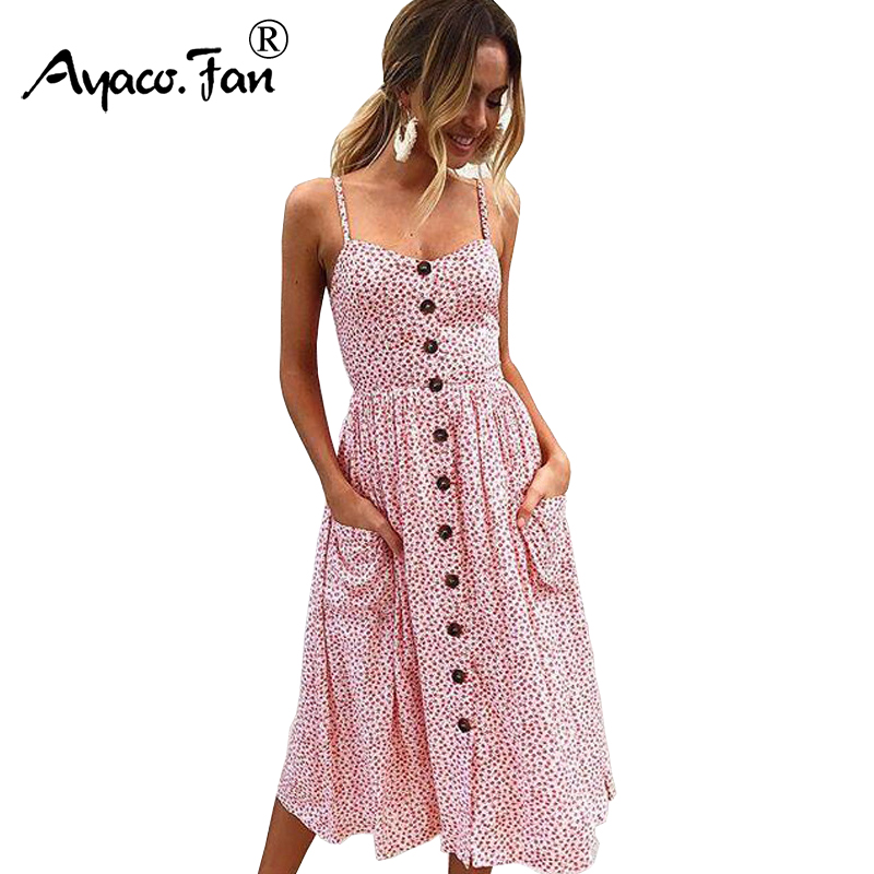 Sexy V Neck Backless Floral Print Summer Beach Dress Women 2018 Boho Striped Button Dots Daisy Party Midi Dresses 11 Types