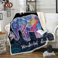 Beddingoutlet elefante veludo cobertor de pelúcia lance mandala floral sherpa cobertor para camas de sofá boêmio cobertor para inverno