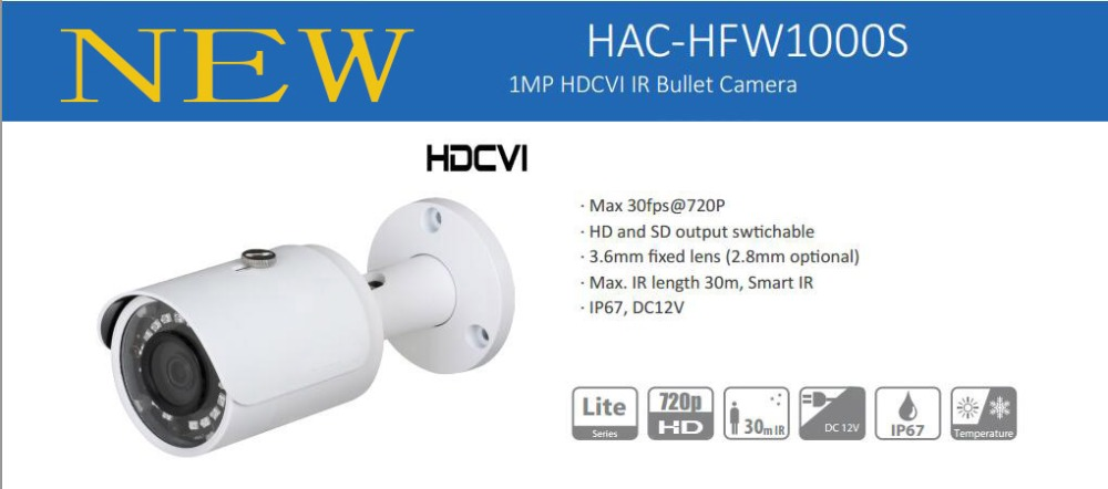 Free Shipping DAHUA Security Camera CCTV 1Mp 720P Water-proof HDCVI IR Bullet Camera without Logo HAC-HFW1000S dahua pfa135 water proof junction box cctv accessories brackets for ip camera hfw4 hfw5 hfw9