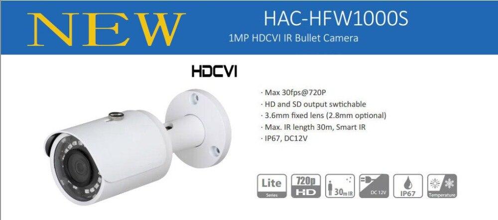 Free Shipping DAHUA Security Camera CCTV 1Mp 720P Water-proof HDCVI IR Bullet Camera without Logo HAC-HFW1000S