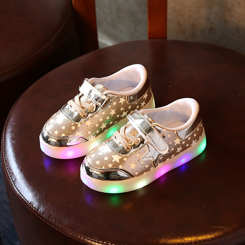New Kids LED Luminous Sneakers Girl Print Toddler Shoes Baby Boys Casual Shoes For Kids Girl School Shoe ChildrenS Lighted Shoe