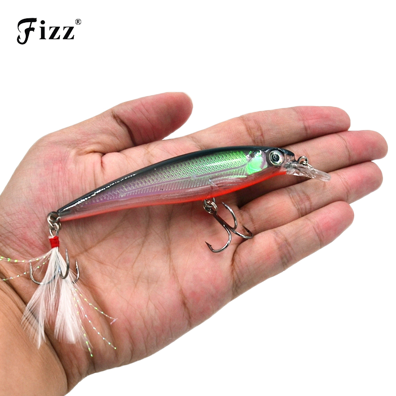 11cm 14g Hard Plastic Minnow Lure with Feather Artificial Fishing Lures 3D Fish Eye Fake Swimbait Simulation Crankbait MI090 9cm 8 3g laser reflective artificial fishing lure hard plastic minnow bait 3d fish eye fake baits mi091