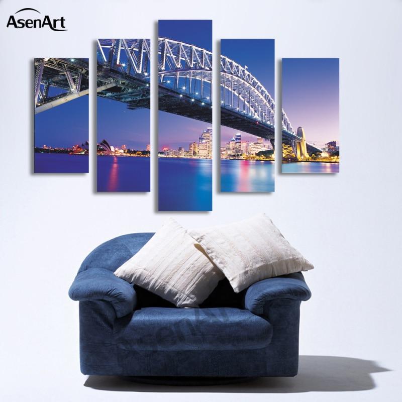 Sydney Harbour Bridge Skyline Picture SINGLE CANVAS WALL ART Print