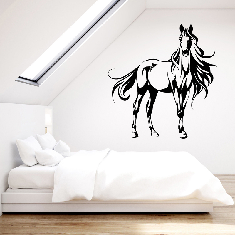 Vinyl wall sticker beautiful abstract horse house animal - Beautiful wall stickers for living room ...