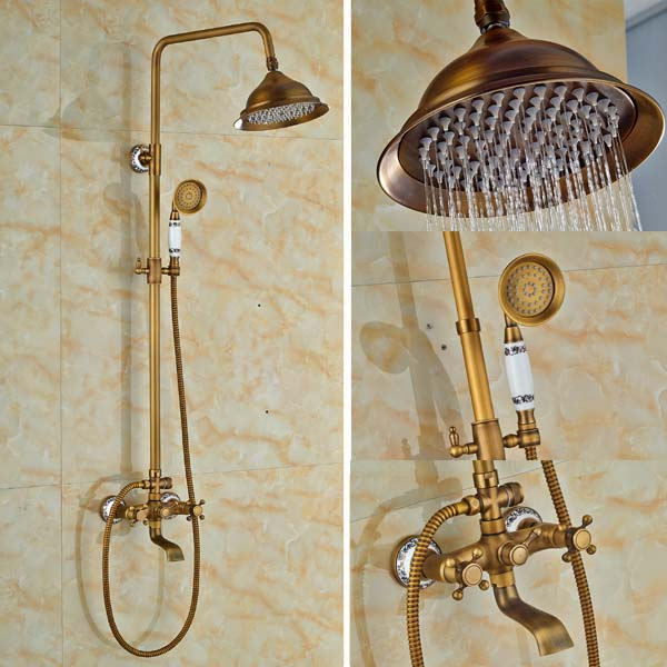 New Shower Set Round Brass Bathroom Shower Faucet Vintage Hot And Cold Faucet