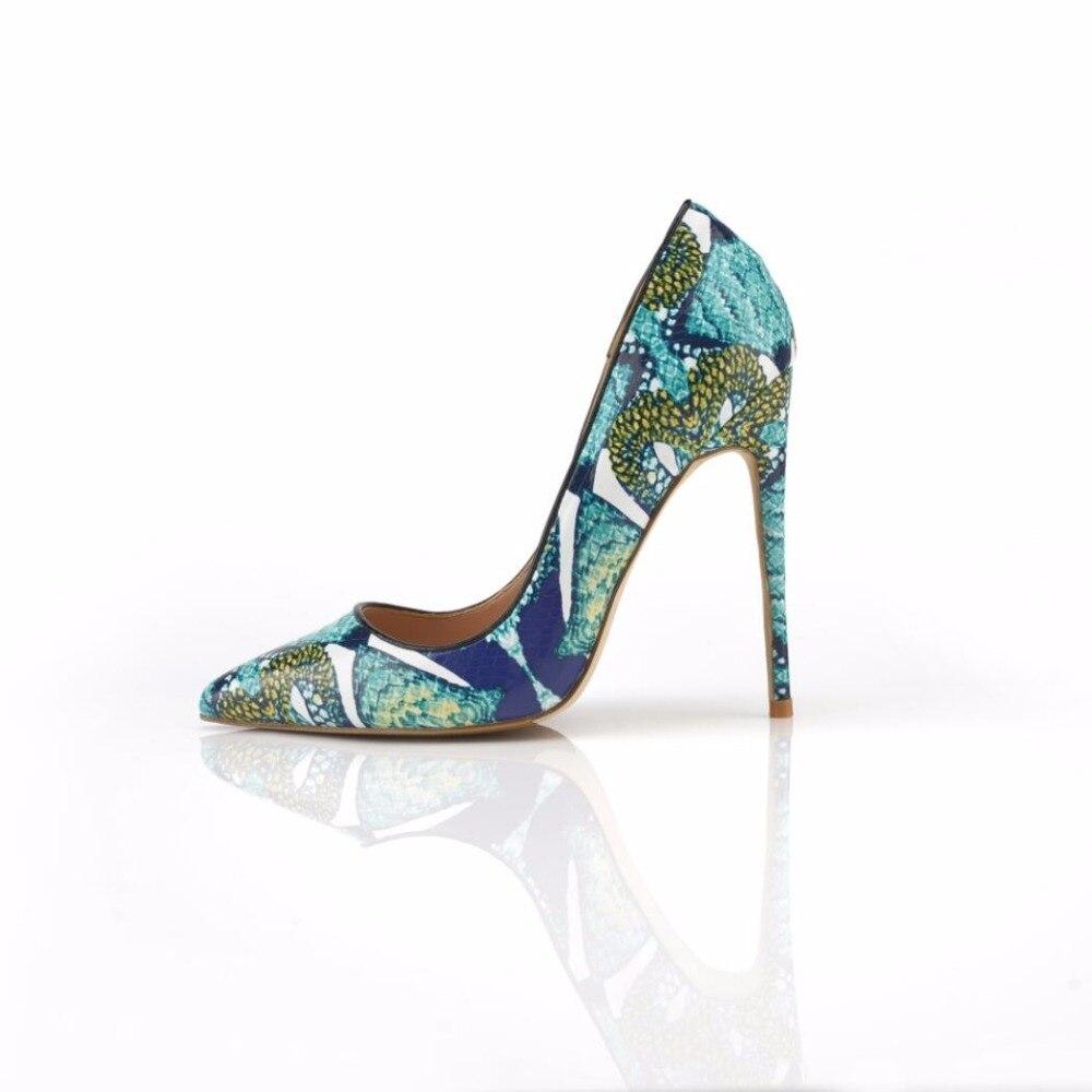 Bouche Chaussures 10 Banquet Dames 12cm Profonde Haute Cm Imprimé 12 Simples Talons Peu 10cm Pointu Bleu xXXBq8v