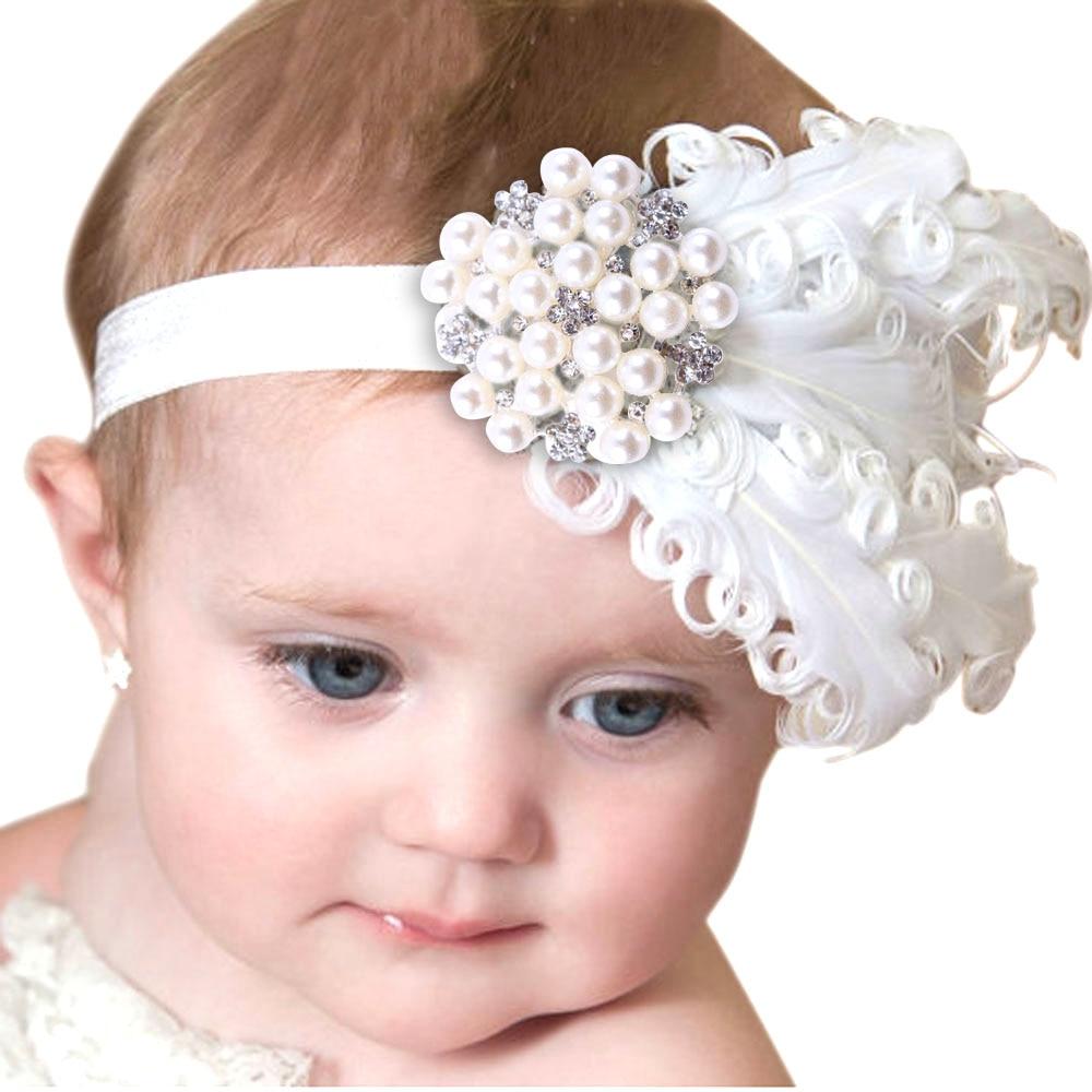 Nuevo blanco bebé venda de la pluma con diamantes de imitación para bebé accesorios para el