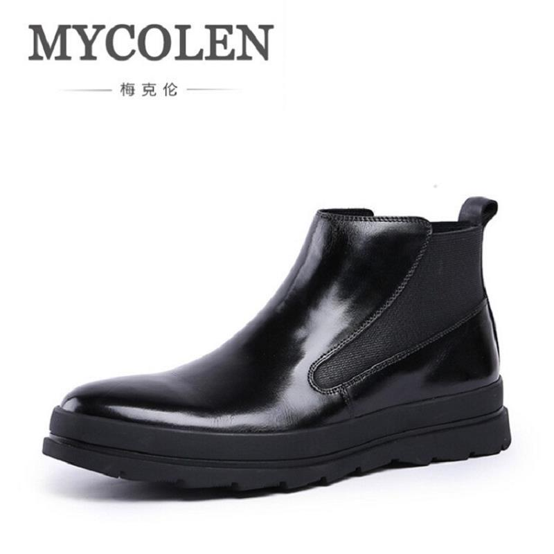 MYCOLEN Men Shoes Genuine Leather Breathable Fall Men's Boots British Fashion Wear Boots Male Black Outdoor Shoes mycolen men shoes genuine leather breathable fall men s boots british fashion wear boots male black outdoor shoes