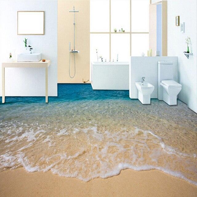 Custom Mural Wallpaper Modern Simple Seawater Beach 3D Floor Tiles Sticker  Bathroom Living Room PVC Waterproof