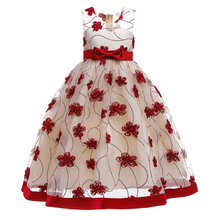 Kids Costume Stain Flower Girl Festive Dress for Wedding Evening Princess Party Pageant Long Gown Kids Dresses for Girls Clothes цена в Москве и Питере