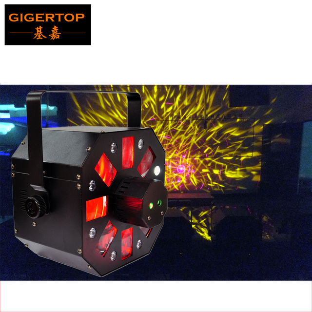 Gigertop TP-E05 Sample Led Colony Bee Flying Flower Effect Stage Light RGBWA 5in1 LED 4 Reflecting Dishes Derby Rotating Strobe