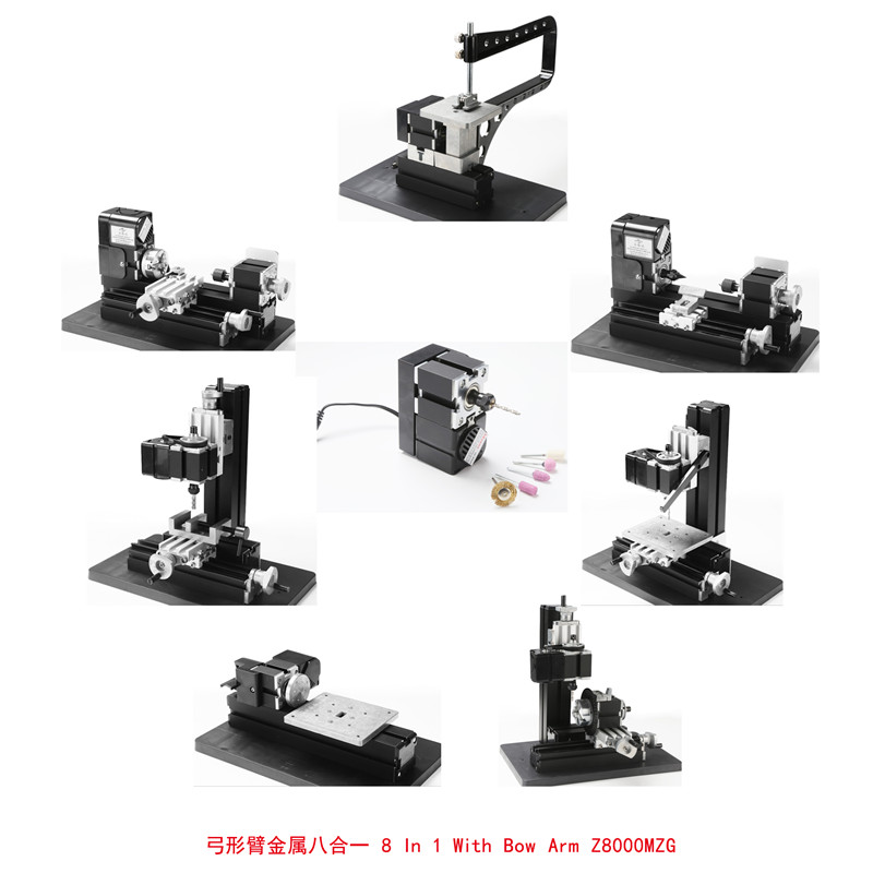 All-Metal 8 in 1 Mini Lathe with Bow-arm, Milling ,Drilling ,Wood Turning, Jag Saw, Sanding Machine 6 in 1 mini lathe milling drilling wood turning jag saw