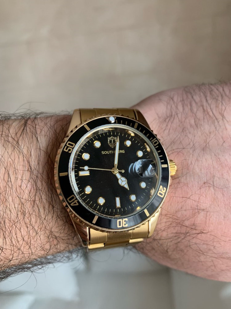 2017 SOUTHBERG Relógio De Ouro Dos Homens de aço Inoxidável Vidro de Safira GMT Bezel Rotativo Banda Esporte Quartz relógio de Pulso reloj relogio 40 MM