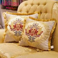 Avigers Luxury Royal Cushion Covers Embroidered Tassels Square Floral Pillows Cases for Sofa Car Bedroom Blue White Brown MXY