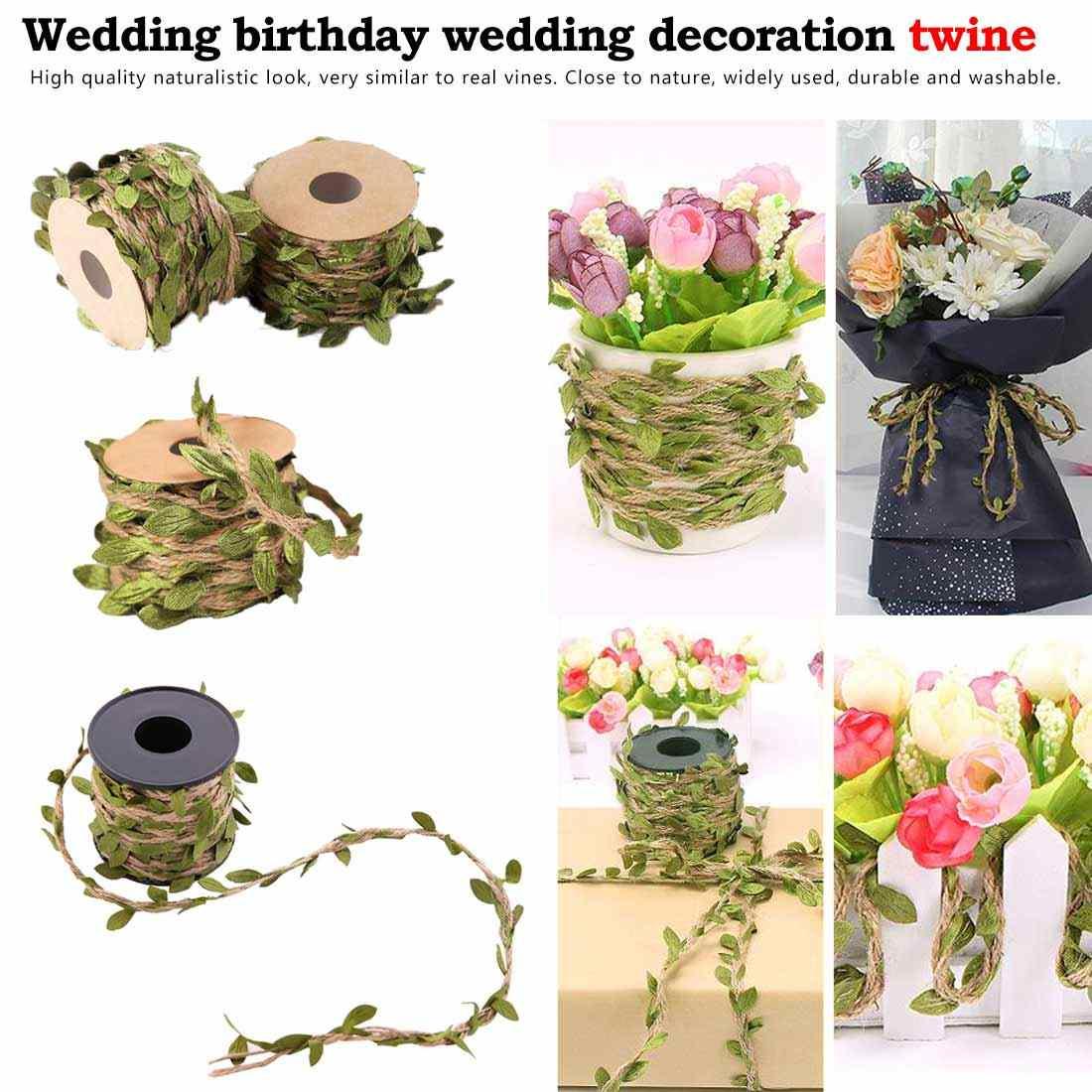 Подарочный букет упаковочная веревка 5 мм Моделирование зеленых листьев ткачество пеньковая веревка 2 м 5 м DIY Свадебные украшения на день рождения ротанга