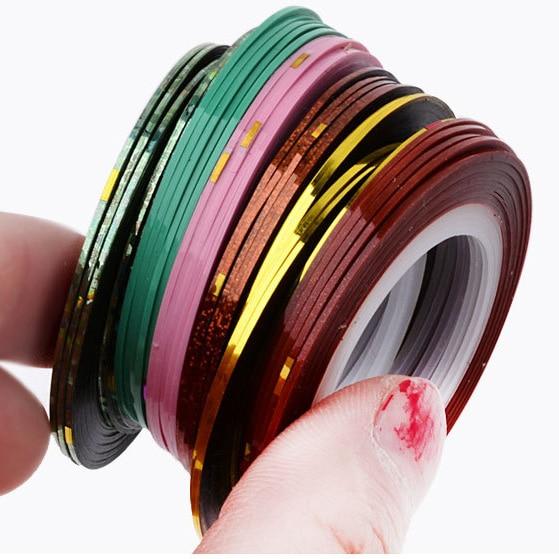 Gold Striping Tape Nail Art: 10 Pcs/Pack Mix Color Adhesive Tape Nail Art Stripes Nail