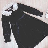 Tree&Sea Winter Long sleeves Black usual Lolita dress Girl Sweet Doll Collar lolita princess dress Vintage black velvet dress