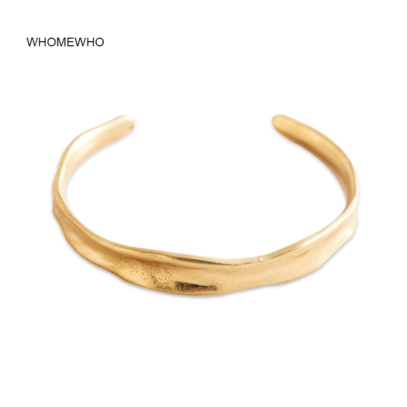 53mm Summer Hammered Metal Antique Gold Open Cuff Adjustable Bangle Bracelets Korean Fashion Minimalism Party Jewelry Accessory