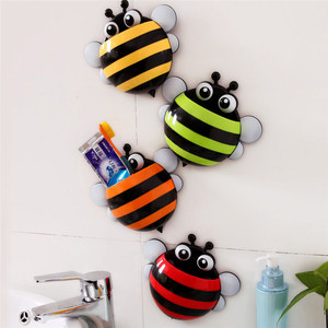 Image 3 - Storage Boxes Cute Bee Wall Mounted Toothbrush Holder Wall Children Sucker Toothpaste Bathroom Cases Accessories