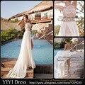 2016 Mais Novo Sexy Alta Neck Backless Lace Chiffon Casual Praia Vestido de casamento vestido de Noiva Vestido De Noiva Tamanho 2-28 Personalizado feito