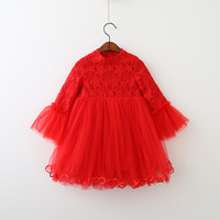 Everweekend Kids Girls Flare Sleeves Embroidery Pentagram Princess Dress New Autumn Tulle Sweet Party Dress Tutu Baby Dress