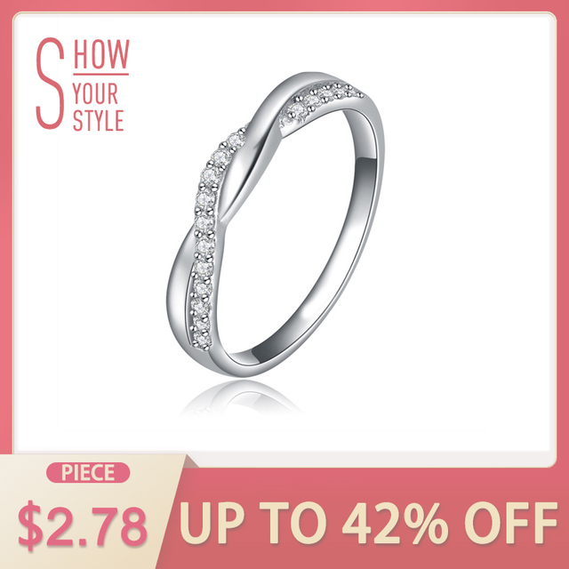 ORSA JEWELS New Arrival Silver Color Infinity Ring with Shiny Austrian Zircon Cr