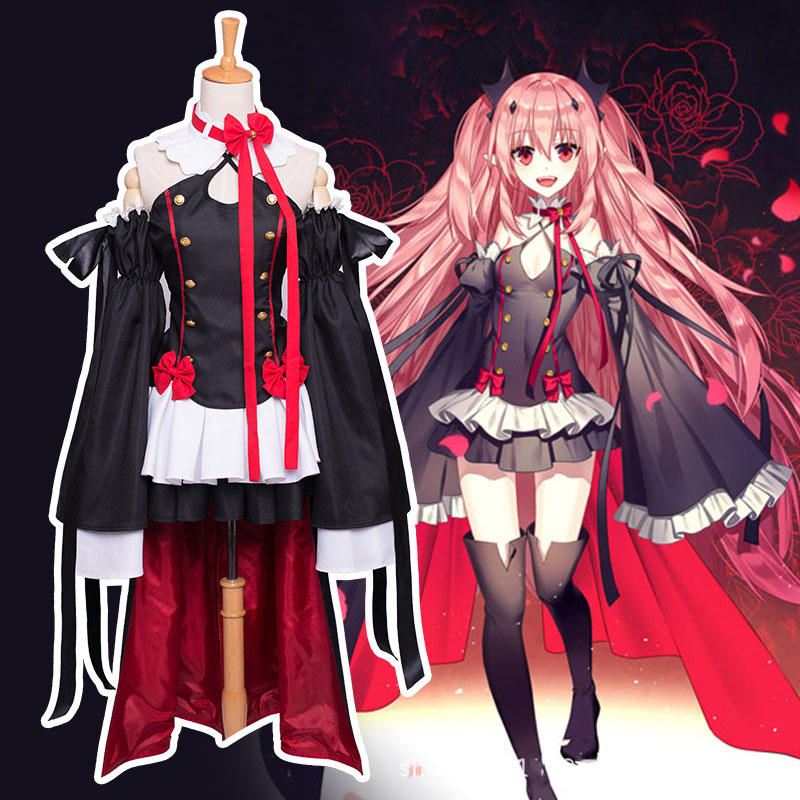 Anime Seraph Of The End Krul Tepes Full Set Halloween Party Dress Cosplay Costume Owari no Seraph Vampire Uniform hot sell free shipping seraph of the end krul tepes pink long clip ponytail cosplay party wig hair