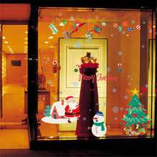 Joyeux noël Stickers muraux Art mural amovible maison décalcomanie fête décor père noël fenêtre Transparent Film autocollants fleurs