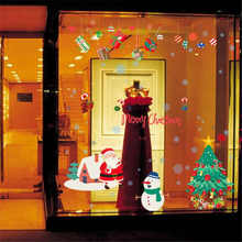 Merry Christmas Wall Stickers Wall Art Removable Home Decal Party Decor Santa Claus Window Transparent Film Stickers flowers