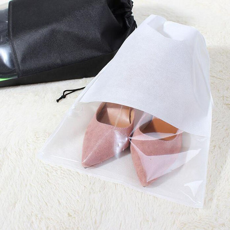 500pcs Portable Tote Drawstring Non-woven Travel Bags Clothing Shoes T-shirt Storage Bags With Transparent Window Za5314 Storage Bags