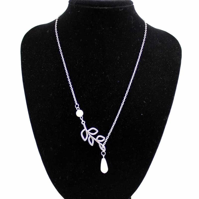 Moda wisiorek naszyjnik liść perły krzyż naszyjnik dla kobiet biżuteria 4ND97