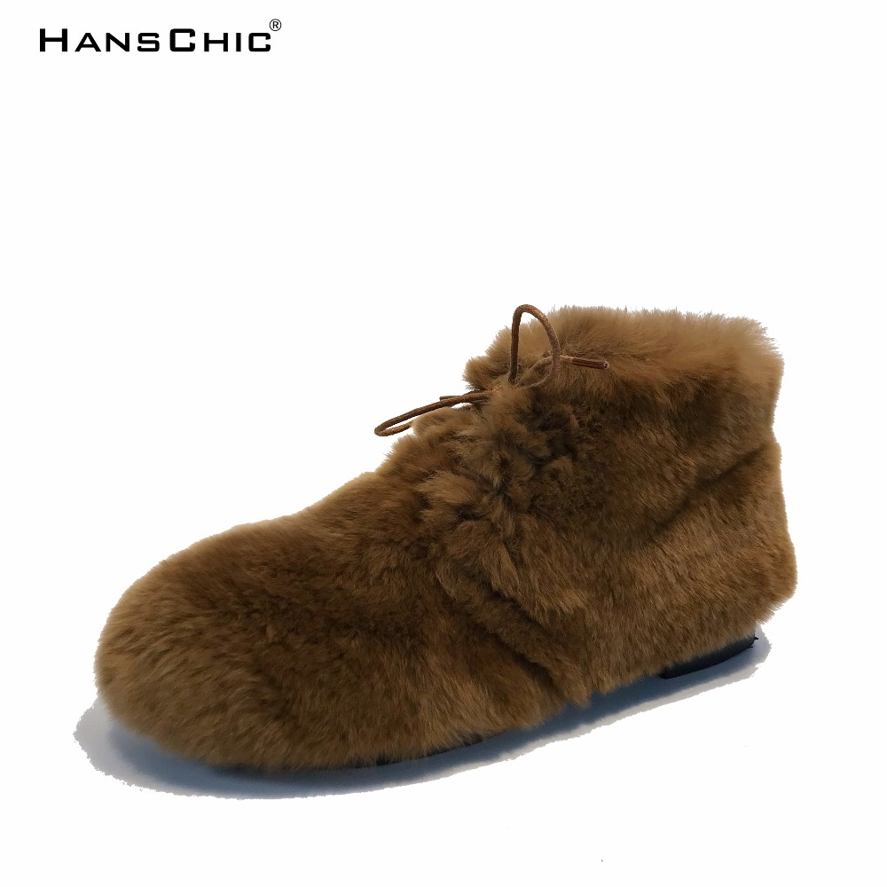 HANSCHIC 2017 New Arrival Brown Real Genuin Rabbit Fur Ladies Womens Low Heels Casual Boots Shoes for Female 1043 hanschic 2018 spring new arrival houndstooth design retro slip on lady womens med heels pumps shoes for female 001