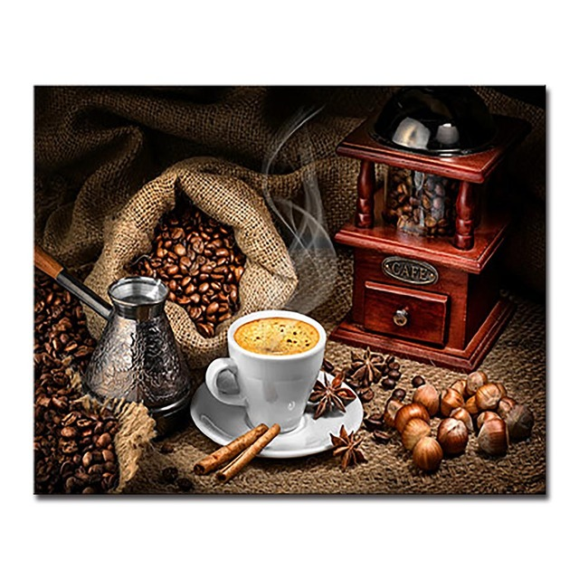 Home Decor Coffee Cup DIY Painting By Numbers Hand Painted Coffee Beans Oil Pictures Cafe Wall Art Kits Coloring Canvas Artwork