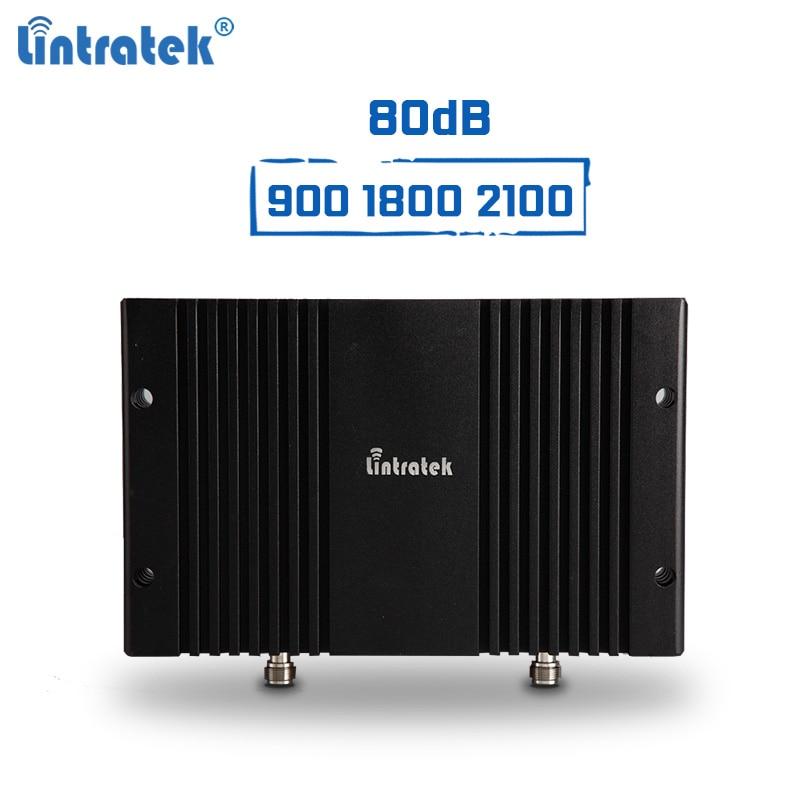 Amplificateur de Signal Lintratek 2G 3G 4G répéteur 900 1800 2100 Mhz amplificateur GSM 3G 4G LTE 80dB 1 W AGC & MGC GSM/B3/B1 UMTS LTE Booster