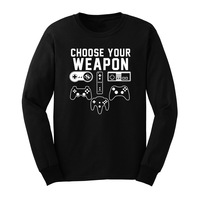 Loo Show Mens Choose Your Weapon Gaming Console Gamer Long Sleeve T Shirts Casual Men Tee
