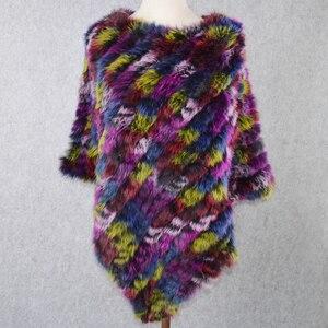 Image 5 - Лидер продаж, Женский вязаный шарф пончо ручной работы из натурального кроличьего меха, шарф из 100% натурального кроличьего меха, шаль из пашмины