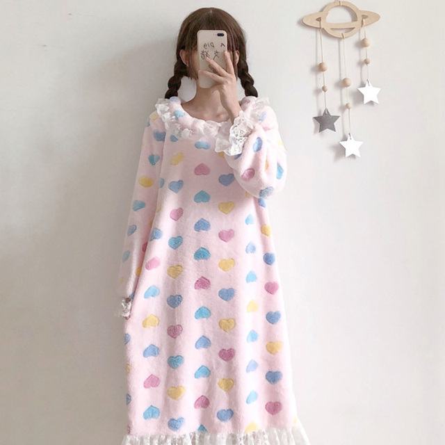 Autumn Dress 2018 New Korean Sweet Cute Peter Pan Collar Loose Nightdress Student Love Print Warm Dress  by Ali Express