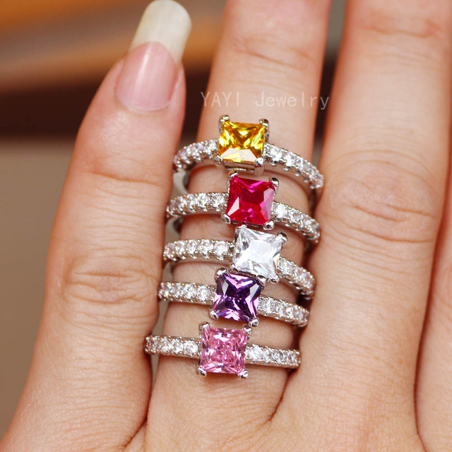YaYI Jewelry Fashion Princess Cut 4.6 CT Multi-color Zircon Silver Color Engagement Rings wedding Rings Party Rings 10 Colors