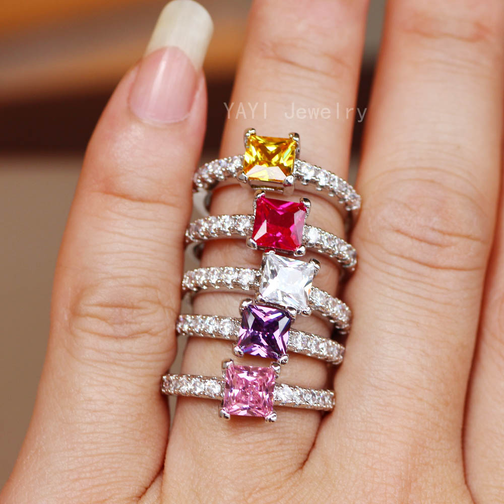 Yayi Schmuck Mode Prinzessin Cut 4,6 Ct Multi-farbe Zirkon Silber Farbe Engagement Ringe Hochzeit Ringe Party Ringe 10 Farben Verlobungsringe Schmuck & Zubehör