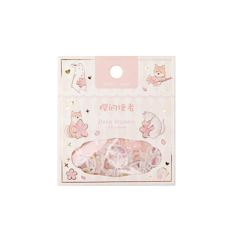 Купить с кэшбэком Sticker Package Cherry Blossom Sakura Bronzing Series Creative Freshness Techo DIY Hot Stamping Decoration Stickers