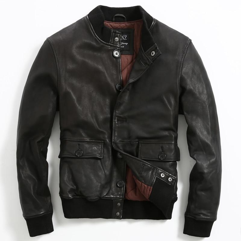 2015 New Men Genuine Leather Jacket Slim Short Mandarin Collar With Cotton Men's leather jackets