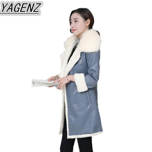 Winter Jacket Coat Women's Big fur collar PU Leather Coat 2017 New Thick Warm Lambswool Coat Female Double breasted Cotton Coat