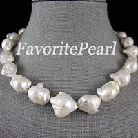 Pearl Necklace Very Big Pearl Size 15 21mm 18 Inches White Color Freshwater Bead Nucleated Baroque Jewelry Free Shipping