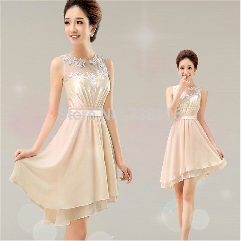 hot&sexy Ready to ship Lowest Wholesale price tank champagne   Bridesmaid     Dresses   short with lace flowers $50 For Women