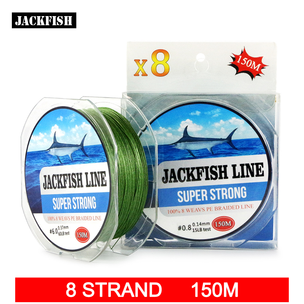 JACKFISH  8 strands 150M Super Strong PE Braided Fishing Line 10-80LB Multifilament Fishing Line Carp Fishing Saltwater 500m 8x modern fishing brand super strong japan multifilament pe braided fishing line 8 strands 20lb 30lb 40lb 50lb 80lb 100lb