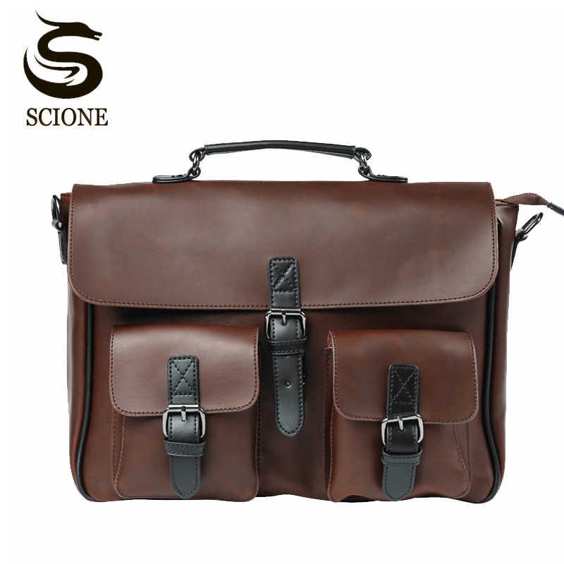 Деловая мужская сумка с двойным ремнем, брендовый мужской портфель из органической кожи, мужская сумка-портфель, мужская сумка-мессенджер