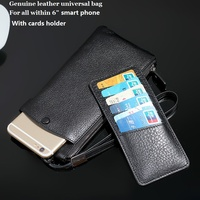 Luxury Universal Genuine Leather Smart Phone Wallet Bag Pouch For Iphone7 S7edge Note5 7 P9 All