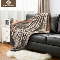 Naturelife Super Soft Faux Fur Blanket Warm PV Fleece Blankets Reversible With Sherpa Shaggy Fuzzy Fur